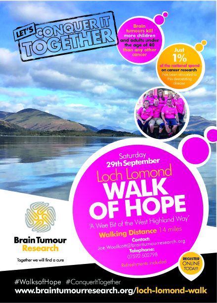Dust off your walking boots and take on 'a wee bit' of the West Highland Way for Brain Tumour Research charity