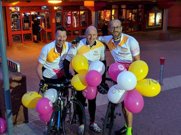 Three men complete 400km Pier-to-Pier Cycle Challenge to help find a cure for brain tumours