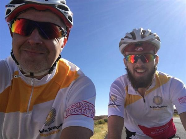 Father and son complete gruelling desert cycle challenge to fund Brain Tumour Research