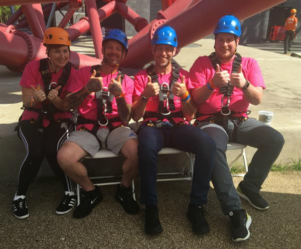 Family and friends abseil the ArcelorMittal Orbit one year on from mum-of-two's death