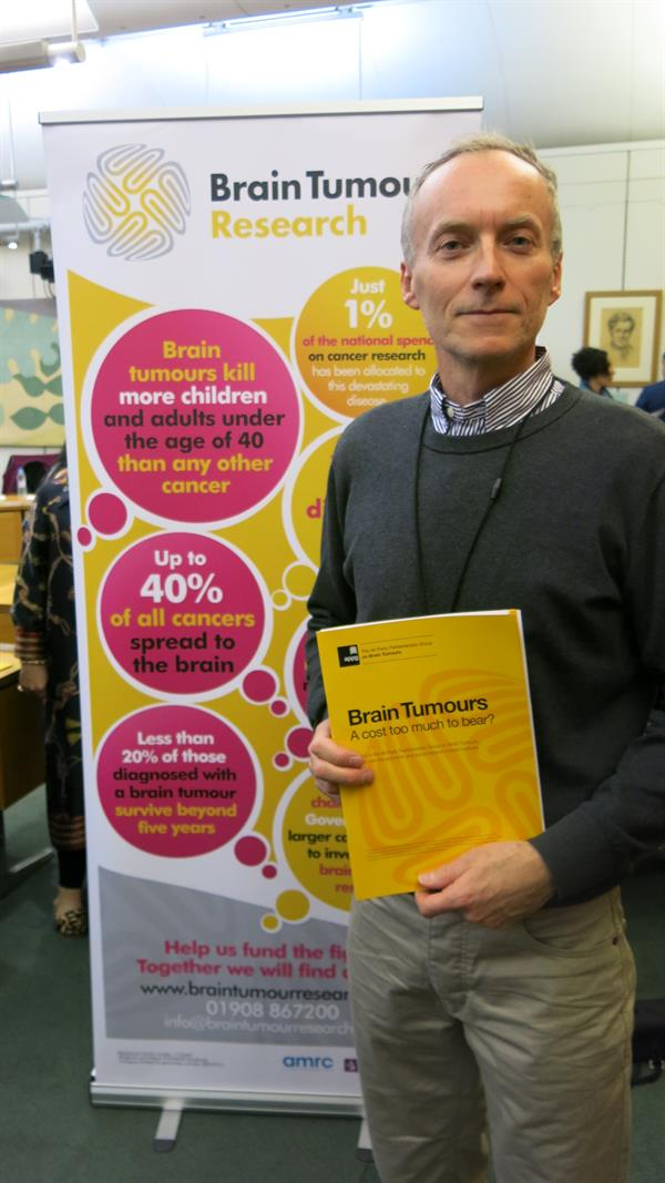 Campaigning father at Westminster as MPs hear of unbearable brain tumour burden