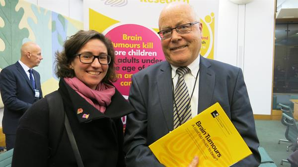 Campaigning friend at Westminster as MPs hear of unbearable brain tumour burden