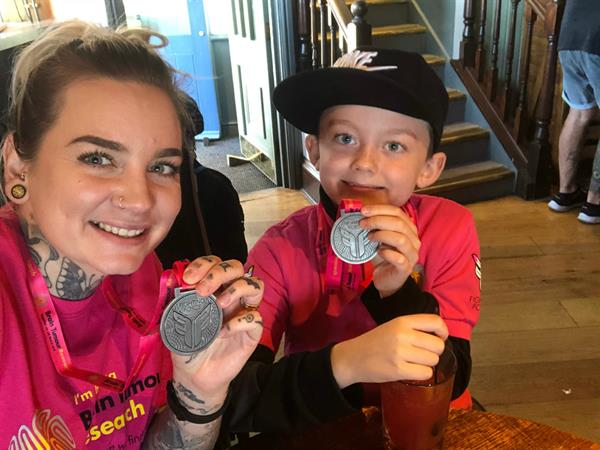 Little boy and his mum's charity walk to fund research into brain tumours