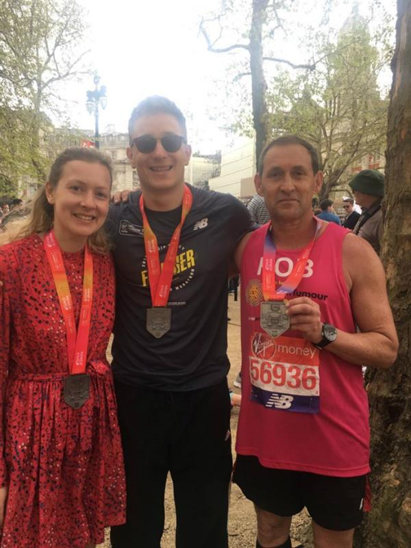 Family trio runs London Marathon to help scientists find a cure for brain tumours