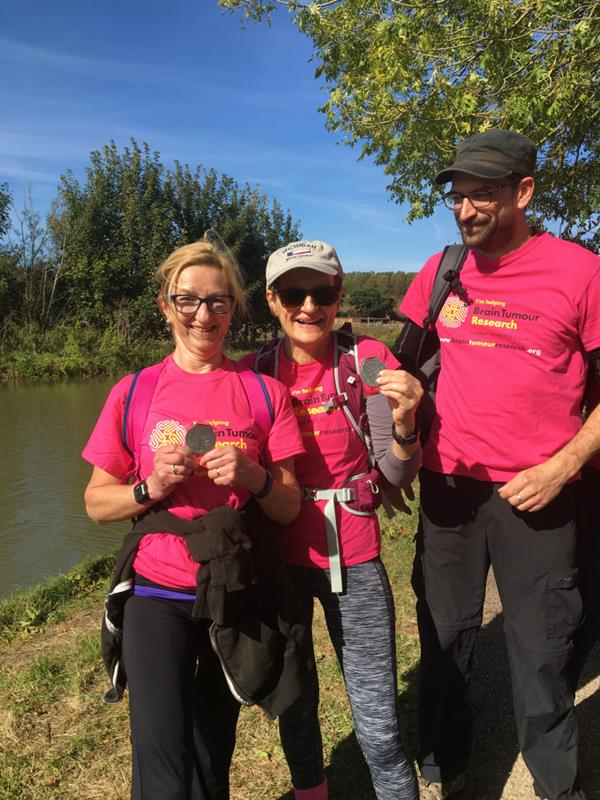 The Grand Union Canal turns pink as walkers help to find a cure for brain tumours