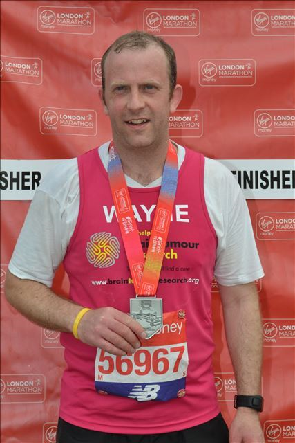 Husband completes marathon challenge in honour of wife living with brain tumour