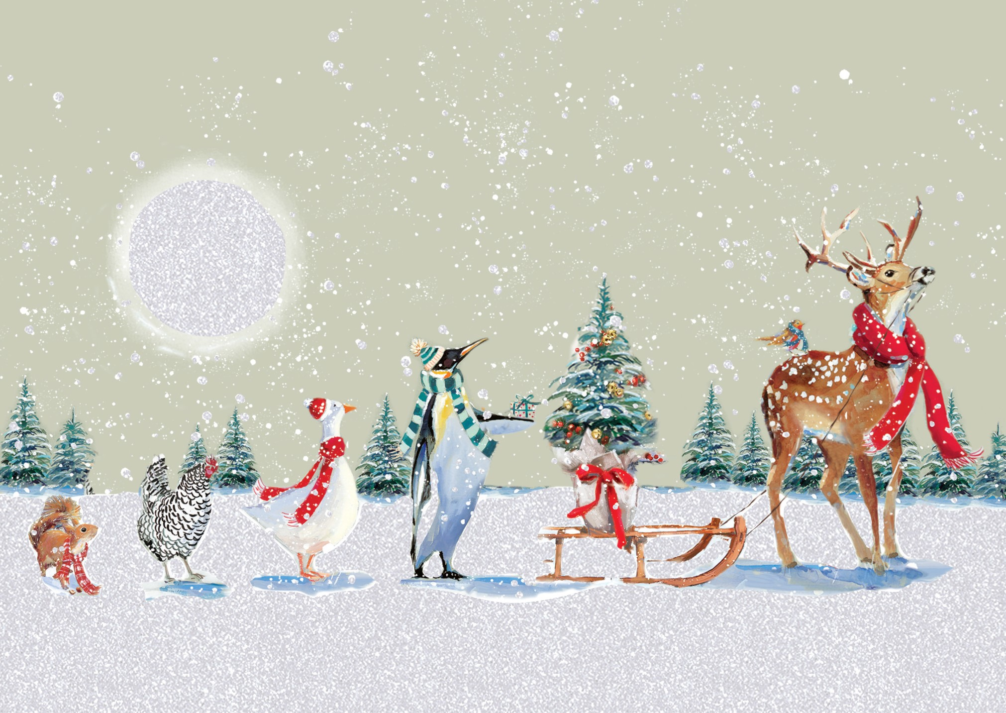 A reindeer, penguin, goose, turkey and red squirrel march in line