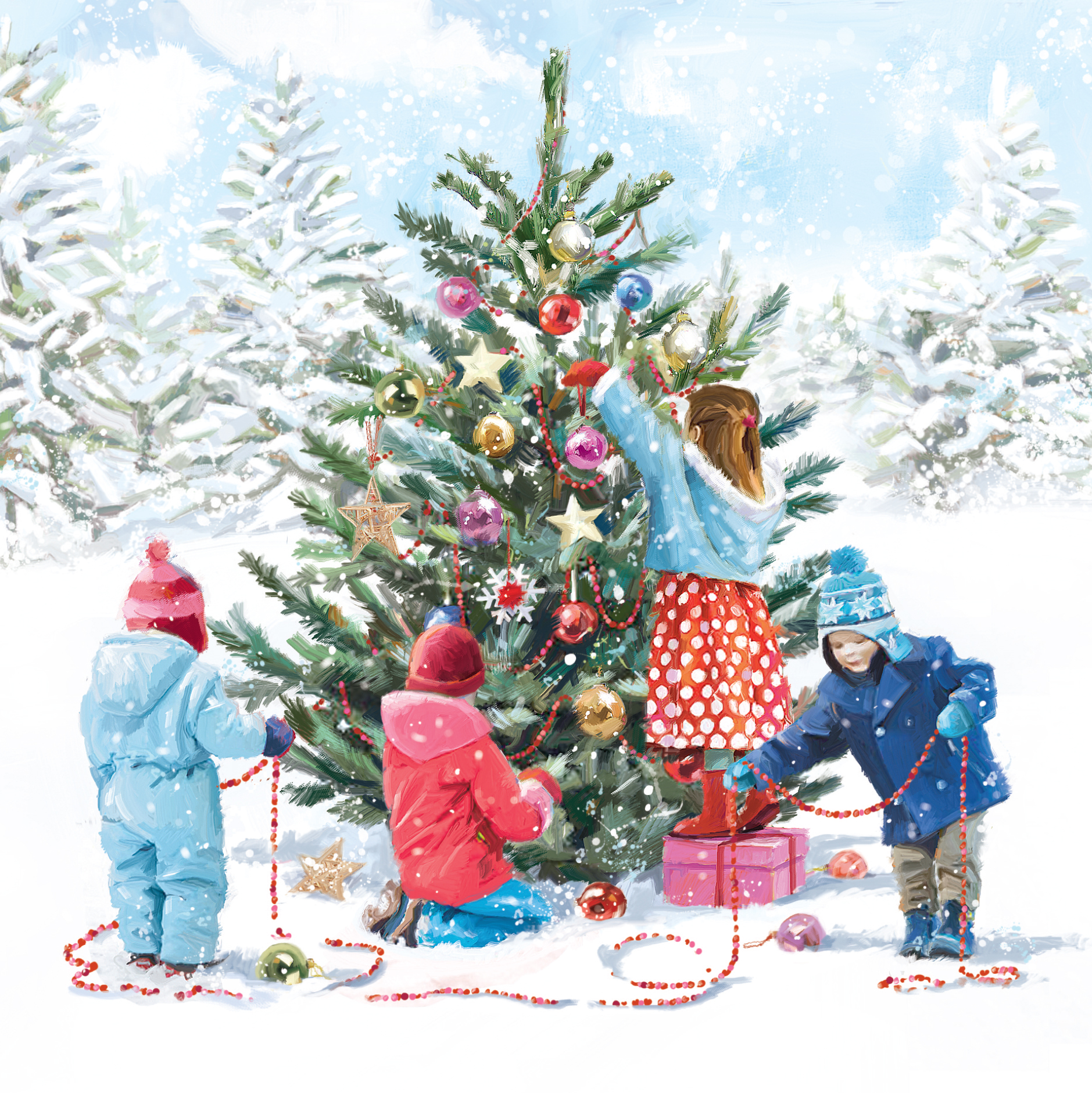 Four children decorating a Christmas tree outside