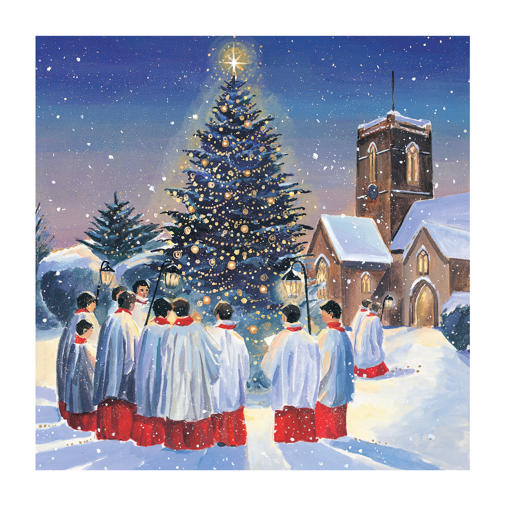 Carol singer stand around a Christmas tree