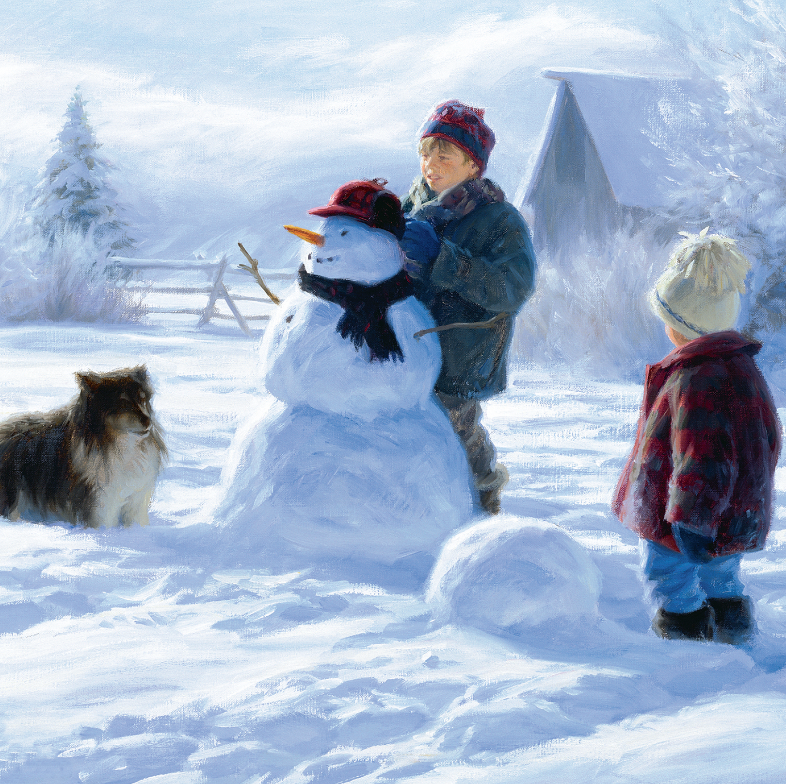 Two boys and a dog building snowmen