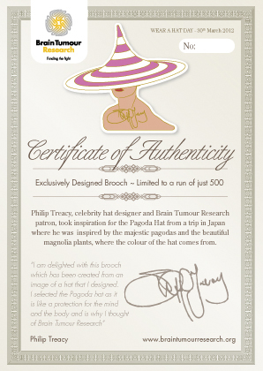 Philip Treacy Brooch Certificate