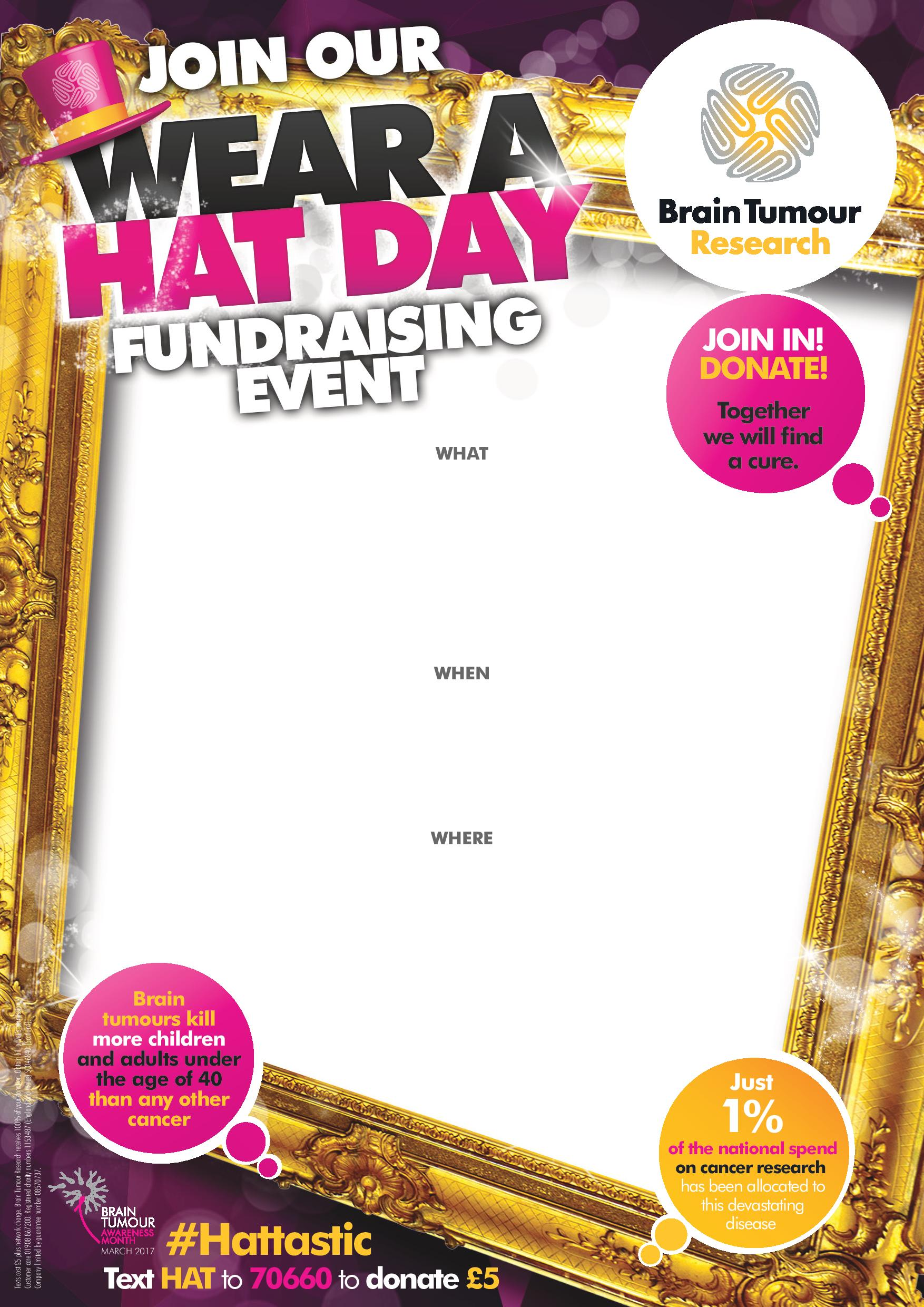 Wear A Hat Day 2017 Editable Poster
