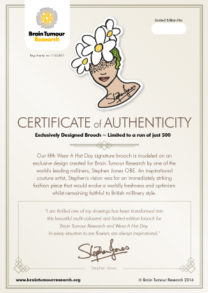 Stephen Jones Brooch Certificate of Authenticity