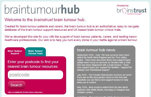 brain tumour hub screenshot