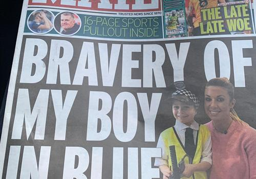Bobby Dazzler! Our young supporter makes front page news in Birmingham