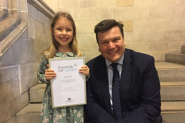 Six-year-old Lyra at Westminster for prestigious award