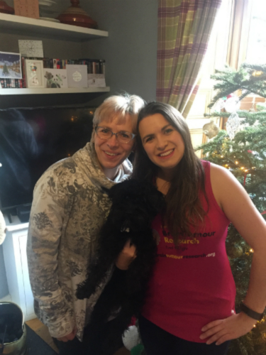 Amy Drummond and her mum and Rufus the dog