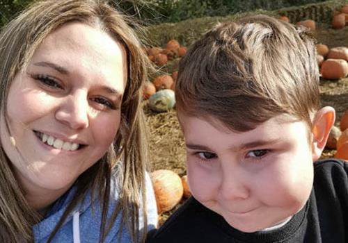 Kyle and mum at pumpkin farm