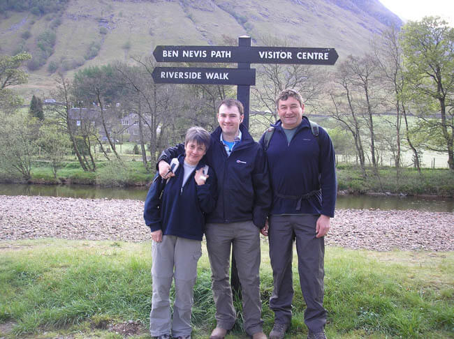 Rob with his parents at Ben Nevis