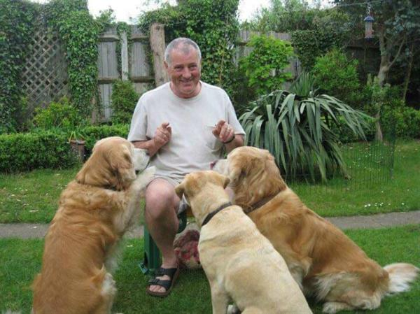 a man and three dogs