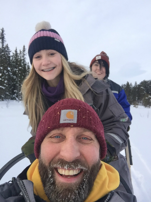 Tony and daughters sledding in Oslo